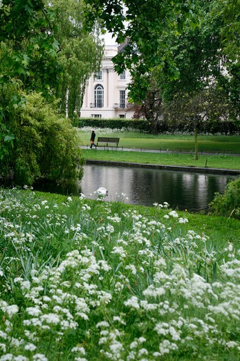 View across the Boating Lake to York Terrace, Regent's Park, London, UK : Stock Photo