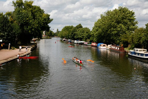Rowing on the River Lea at Upper Clapton, London, UK : Stock Photo