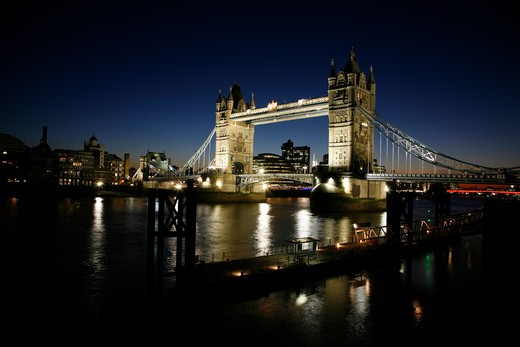 Bridge over a river, Tower Bridge, Thames River, Butlers Wharf, London, England : Stock Photo