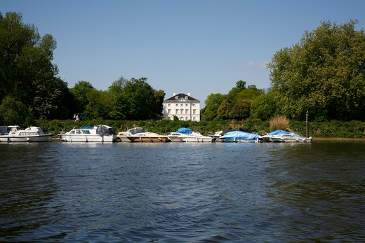 Boats in a river, Thames River, Marble Hill House, St Margaret's, London, England : Stock Photo