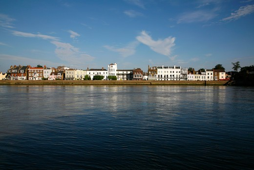 Buildings at the waterfront, Thames River, The Terrace, Barnes, London, England : Stock Photo
