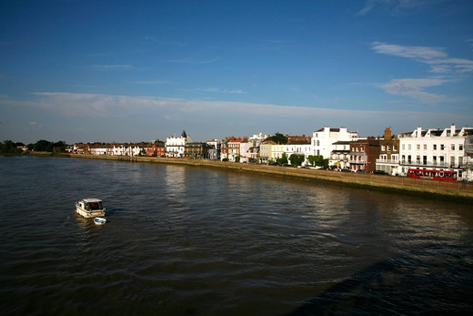Buildings at the waterfront, Thames River, Barnes, London, England : Stock Photo