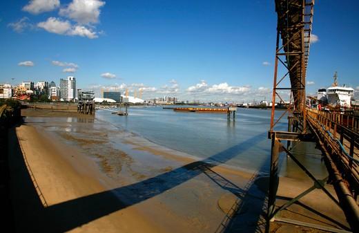 Wharf on a river, Thames River, Angerstein Wharf, O2 Arena, Greenwich Peninsula, London, England : Stock Photo