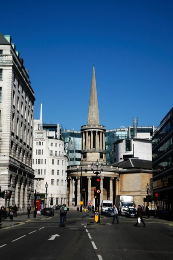 UK, London, Marylebone, View up Regent Street to All Souls church and Broadcasting House : Stock Photo
