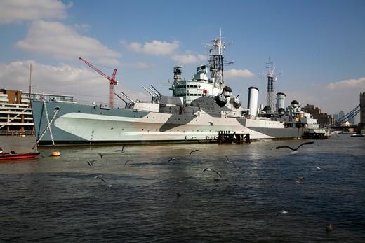 UK, London, HMS Belfast moored on River Thames near London Bridge : Stock Photo