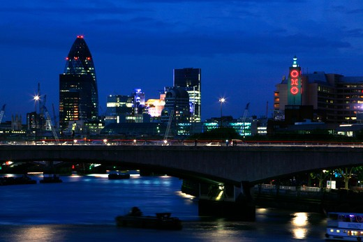 UK, London, Looking across Waterloo Bridge at dusk to Gherkin and Oxo Tower : Stock Photo