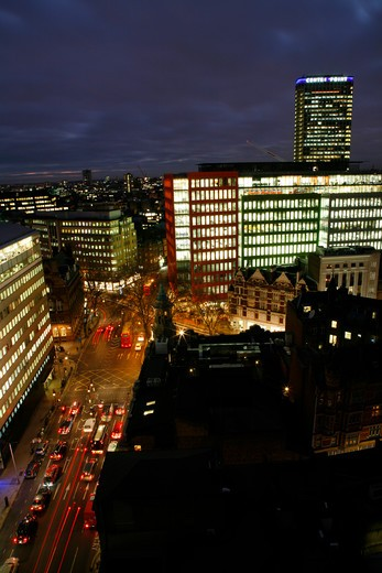 UK, London, City Of Westminster, Skyline view along High Holborn to Central St. Giles development and Centre Point : Stock Photo