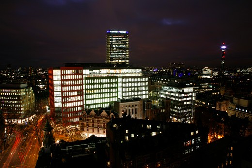 UK, London, City Of Westminster, Skyline view of Central St. Giles development, Centre Point and Telecom Tower : Stock Photo