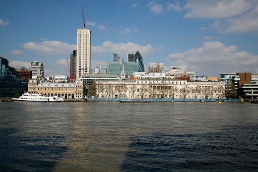 UK, London, City of London, View across River Thames to Custom House and old Billingsgate Market : Stock Photo