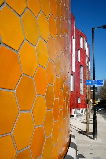 UK, London, Elephant and Castle, Tiling detail on new housing development on Brandon Street : Stock Photo
