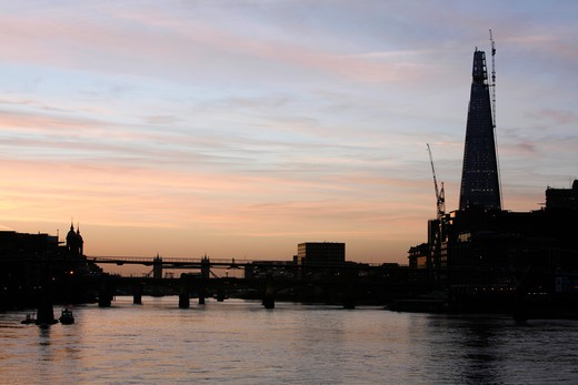 UK, London, Borough, View down River Thames at sunrise to Shard : Stock Photo