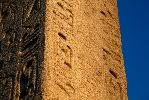 UK, London, Detail of Cleopatra's Needle on Victoria Embankment : Stock Photo