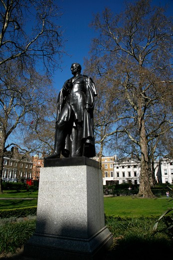 UK, London, Marylebone, Statue of Lord George Bentinck in gardens of Cavendish Square : Stock Photo