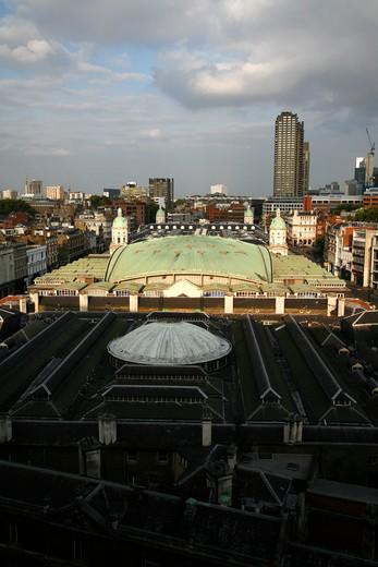 UK, London, City of London, Elevated view of Smithfield Market : Stock Photo