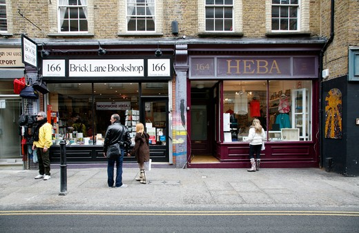 UK, London, Shoreditch, Brick Lane Bookshop and Heba on Brick Lane : Stock Photo