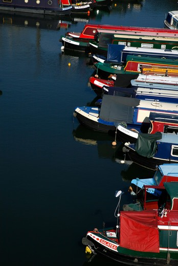 UK, London, St. Pancras, Canal boats moored in St. Pancras Cruising Club yacht basin by Regent's Canal : Stock Photo