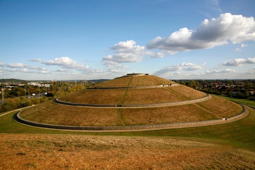 UK, London, Greenford, Northolt, Northala Fields, Conical earth mounds were created from spoil of building new Wembley Stadium and Westfield Shopping Centre : Stock Photo