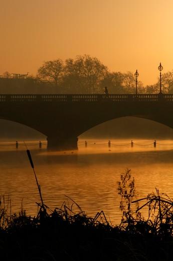 UK, London, Misty sunrise on Long Water by Serpentine Bridge, Kensington Gardens : Stock Photo