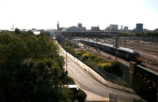 UK, London, St. Pancras, South Eastern train arriving at St. Pancras Station : Stock Photo