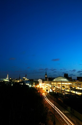 UK, London, St Pancras, Skyline night view of St Pancras Station, St Paul's Cathedral and Shard : Stock Photo