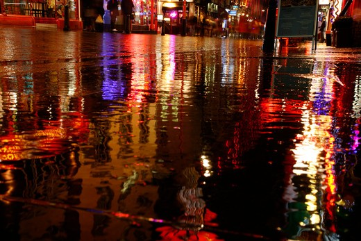 UK, London, Chinatown, Rainy reflections on Wardour Street : Stock Photo