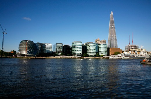 View across the River Thames to the Shard, More London development and City Hall, London, UK : Stock Photo