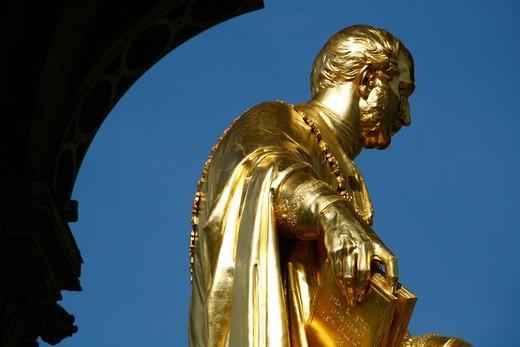 Gilt statue of Prince Albert within the Albert Memorial, Kensington Gardens, London, UK : Stock Photo