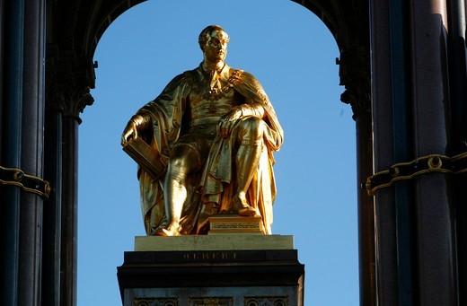 Gilt statue of Prince Albert within the Albert Memorial in Kensington Gardens, London, UK : Stock Photo