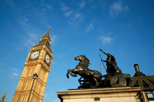 Statue of Boadicea in front of Big Ben, Westminster, London, UK : Stock Photo