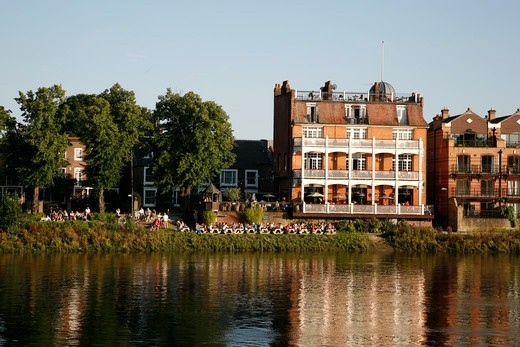 View across the River Thames to the White Hart pub in Barnes, London, UK : Stock Photo