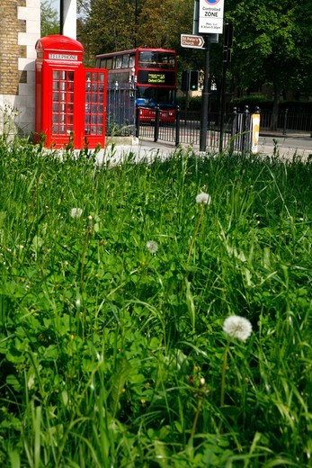 Telephone Box by Hackney City Farm on Hackney Road, Haggerston, London, UK : Stock Photo