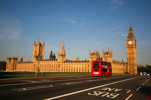 View of the Houses of Parliament from the middle of Westminster Bridge, Westminster, London, UK : Stock Photo