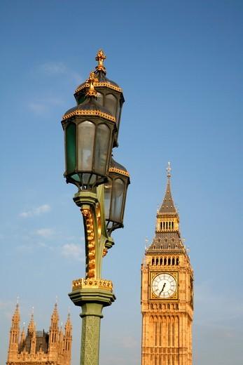 Lantern on Westminster Bridge in front of Big Ben, Westminster, London, UK : Stock Photo