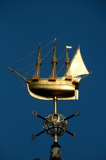 Gilt ship weathervane on the top of Liberty's on Great Marlborough Street, Soho, London, UK : Stock Photo