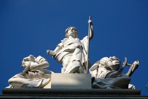 Classical figures on the top of the London Palladium facade on Argyll Street, Soho, London, UK : Stock Photo