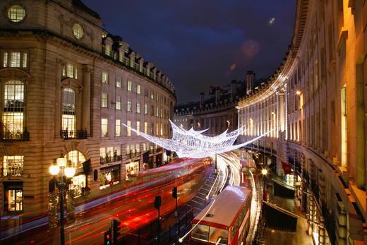 UK, London, Christmas Lights on Regent Street : Stock Photo