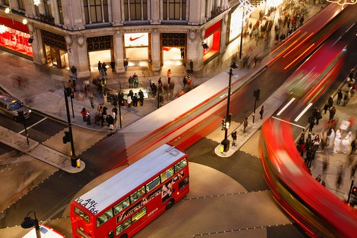UK, London, West End, Buses crossing Oxford Circus : Stock Photo