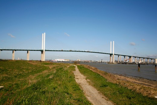 UK, Kent, Dartford, River Thames at Queen Elizabeth II bridge : Stock Photo