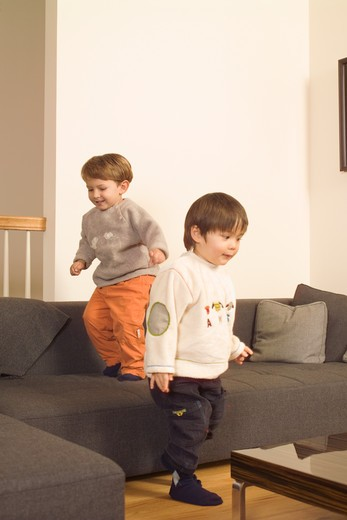 Stock Photo: 4125-112 Two boys playing in a living room, USA