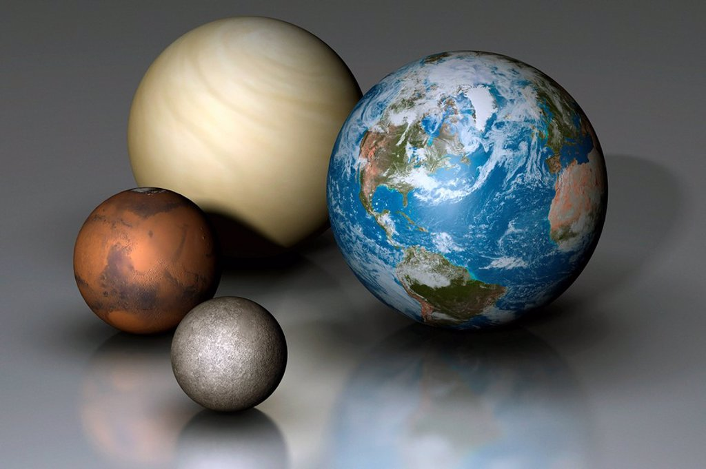 Terrestrial Planets Compared : Stock Photo