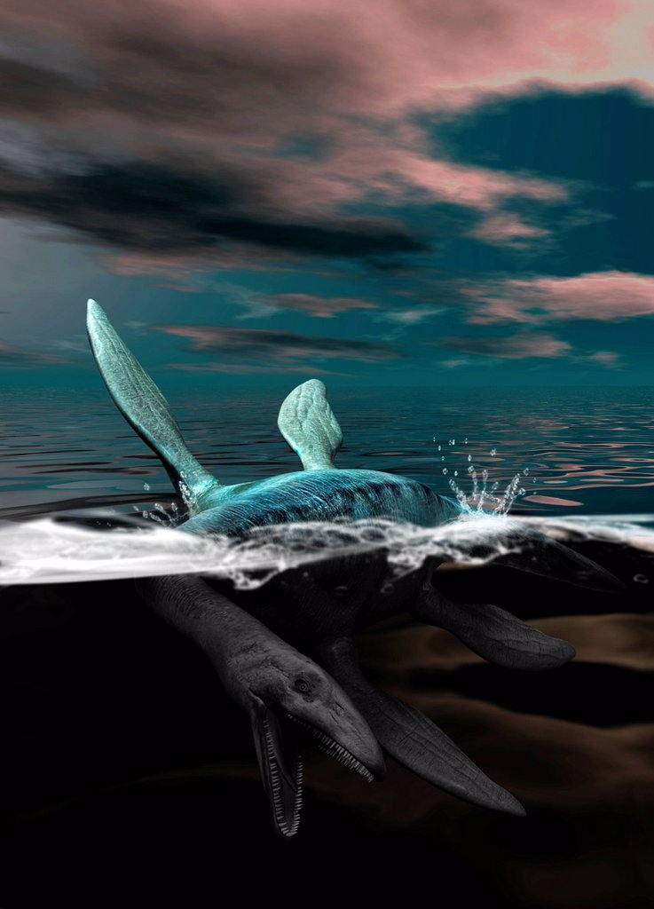 Stock Photo: 4128R-12806 Loch Ness monster, computer artwork.