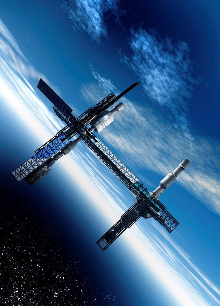 Space station. Computer artwork of a space station orbiting the Earth. : Stock Photo