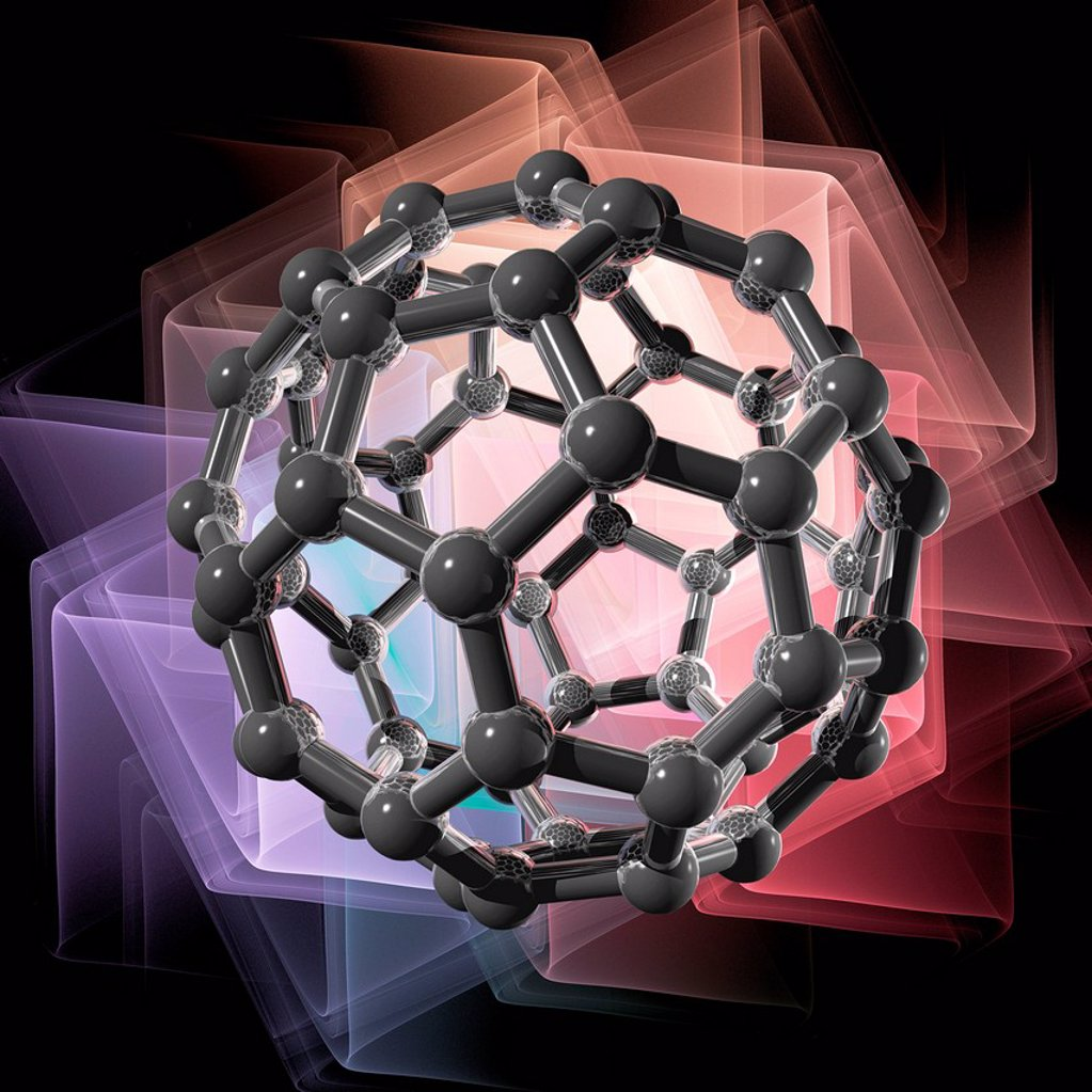 Stock Photo: 4128R-13297 Buckyball molecule, computer artwork.