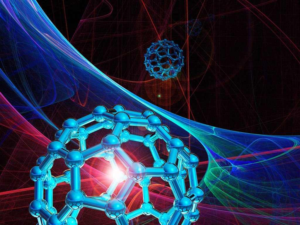Stock Photo: 4128R-13304 Buckyball molecules, computer artwork.