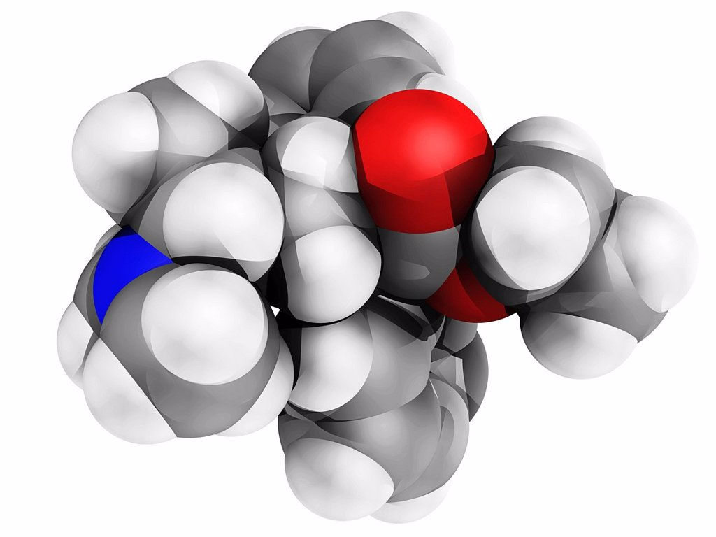 Stock Photo: 4128R-13365 Methadone molecule, computer model. Atoms are represented as spheres and are colour_coded: carbon grey, hydrogen white, nitrogen blue and oxygen red.