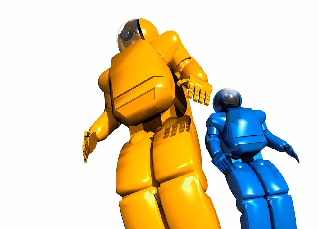 Stock Photo: 4128R-13406 Humanoid robots, computer artwork.