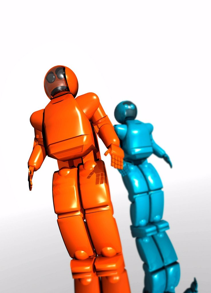 Humanoid robots, computer artwork. : Stock Photo