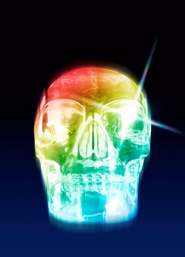 Stock Photo: 4128R-13462 Crystal skull, computer artwork.