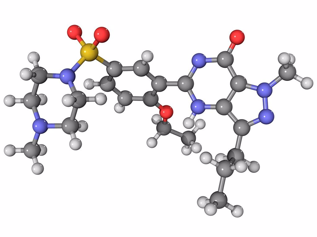 Stock Photo: 4128R-13855 Viagra. Molecular model of the drug sildenafil citrate, marketed under the brands Viagra and Revatio. Atoms are represented as spheres and are colour_coded: carbon grey, hydrogen white, nitrogen blue, oxygen red, sulphur yellow.
