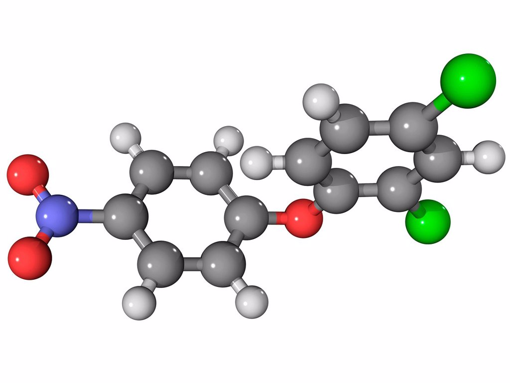 Stock Photo: 4128R-13902 Nitrofen herbicide, molecular model. Atoms are represented as spheres and are colour_coded: carbon grey, hydrogen white, nitrogen blue, oxygen red and chlorine green.